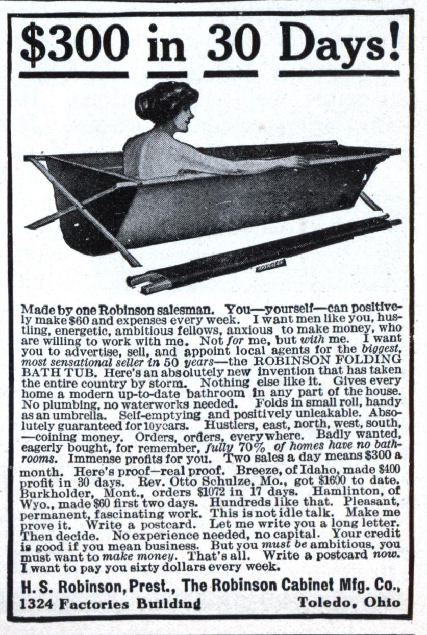 Business Opportunity Ad - Folding Tub