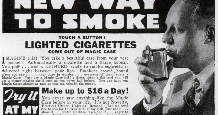 Cigarette Case Lit Cigarettes
